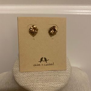 New yellow/gold birthstone round earrings